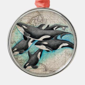 Ornement Rond Argenté Atlas de carte d'orque