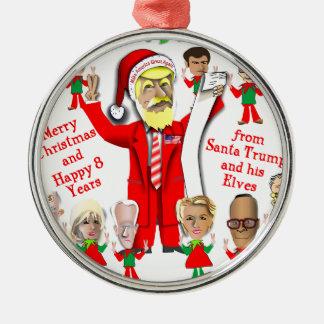 Ornement Rond Argenté Atout de Père Noël et ses elfes
