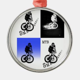 Ornement Rond Argenté Autocollants de CYCLISTE du cycliste MTB BMX de