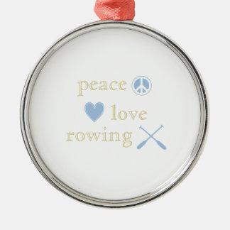 Ornement Rond Argenté Aviron d'amour de paix