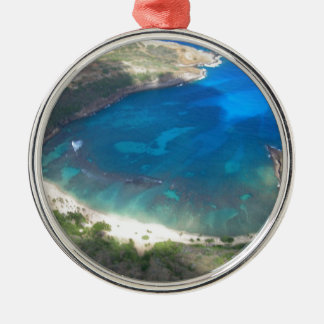 Ornement Rond Argenté Baie Hawaï de Hanauma