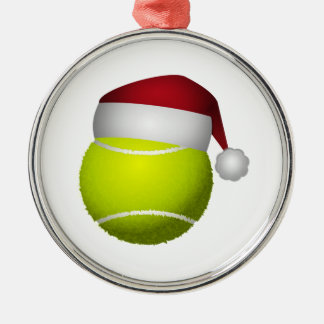 Ornement Rond Argenté Balle de tennis de Noël