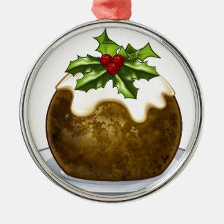 Ornement Rond Argenté Bande dessinée de pudding de prune de Noël