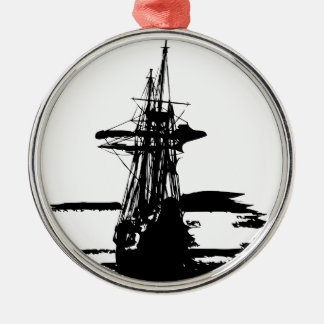 Ornement Rond Argenté bateau de pirate