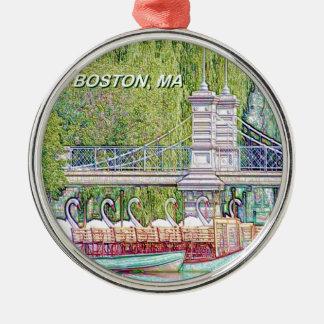 Ornement Rond Argenté Bateaux de cygne de Boston dans le filtre de