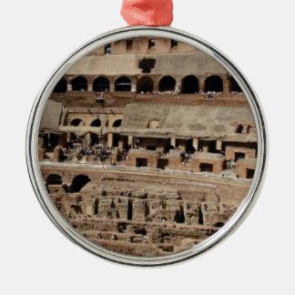 Ornement Rond Argenté bâtiment antique de croustillant