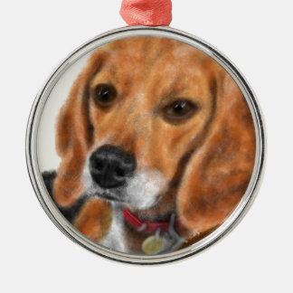 Ornement Rond Argenté Beagle
