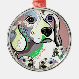 Ornement Rond Argenté Beagle et palette de couleurs molle de bébés