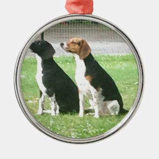 Ornement Rond Argenté Beagles