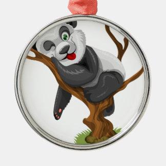Ornement Rond Argenté beau heureux de bébé de panda de joie animale