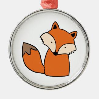 Ornement Rond Argenté Beau renard rouge