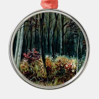 Ornement Rond Argenté beauté dans les bois