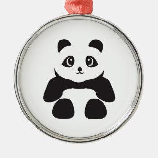 Ornement Rond Argenté Bel ours panda