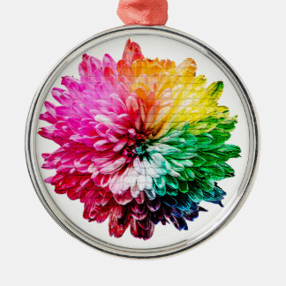 Ornement Rond Argenté Belle fleur multicolore de mosaïque