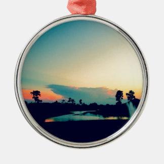 Ornement Rond Argenté Belle photo de coucher du soleil