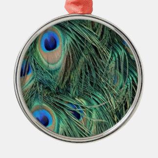 Ornement Rond Argenté Belles plumes de paon