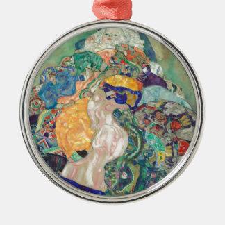 Ornement Rond Argenté Berceau de bébé de Gustav Klimt