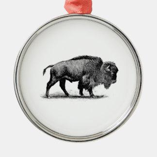 Ornement Rond Argenté bison solitaire