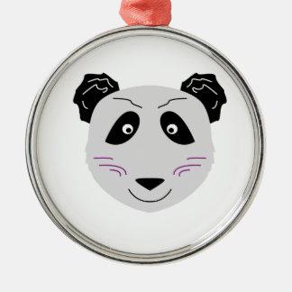Ornement Rond Argenté Blackgrey mignon de petit panda