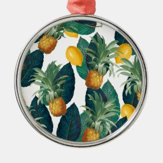 Ornement Rond Argenté blanc d'ananas et de citron