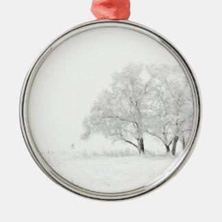 Ornement Rond Argenté Blanc de paysage d'hiver de Noël