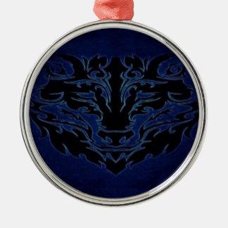 Ornement Rond Argenté Bleu tribal de loup