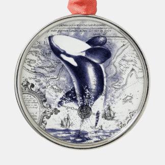 Ornement Rond Argenté Bleu vintage de carte de baleine d'orque