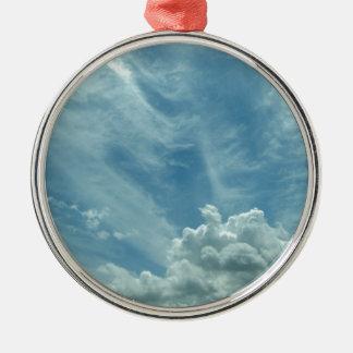 Ornement Rond Argenté Blue sky and clouds