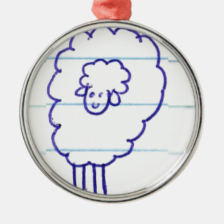 Ornement Rond Argenté Bob les moutons seuls