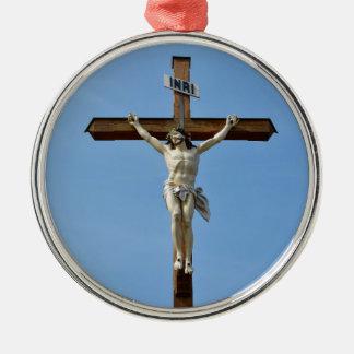 Ornement Rond Argenté bois Jésus croisé