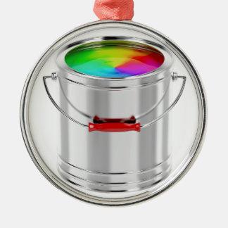 Ornement Rond Argenté Boîte métallique avec la peinture multicolore