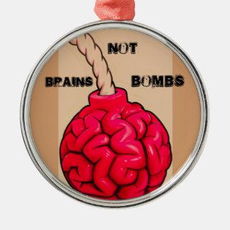 Ornement Rond Argenté Bombes de cerveaux pas