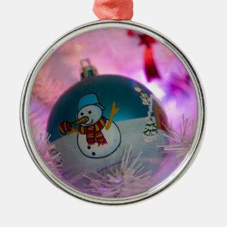 Ornement Rond Argenté Bonhomme de neige - boules de Noël - Joyeux Noël