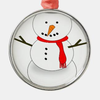 Ornement Rond Argenté Bonhomme de neige de Joyeux Noël