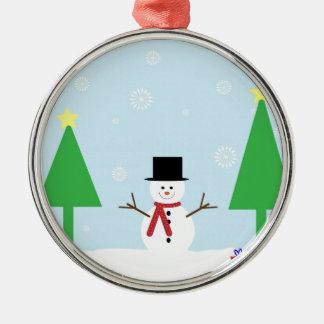 Ornement Rond Argenté Bonhomme de neige de Noël