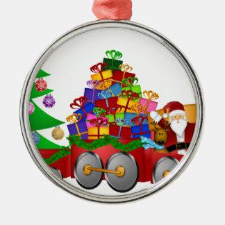 Ornement Rond Argenté Bonhomme de neige de renne de Père Noël en cadeaux