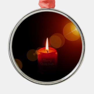 Ornement Rond Argenté Bougie de rouge de Noël