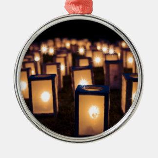 Ornement Rond Argenté bougies de lumières de Noël