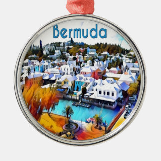 Ornement Rond Argenté Bruit au néon Bermudes 4544