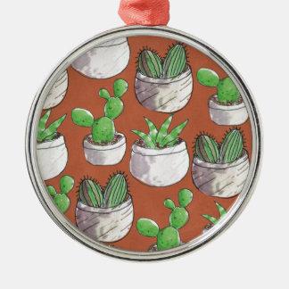 Ornement Rond Argenté cactus