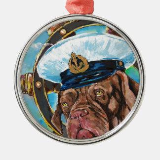 Ornement Rond Argenté Cadeau de //du chien du marin de //de l'année du