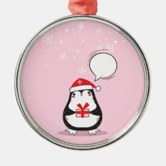 Ornement Rond Argenté Cadeau rose mignon de Noël de Noël de vacances de
