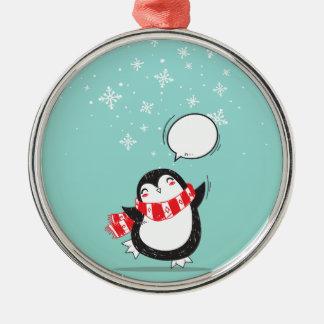 Ornement Rond Argenté Cadeau turquoise mignon de Noël de Noël de
