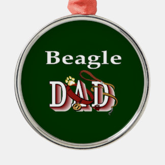 Ornement Rond Argenté Cadeaux de papa de beagle