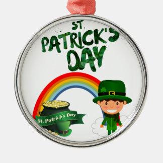 Ornement Rond Argenté Cadeaux du jour de St Patrick