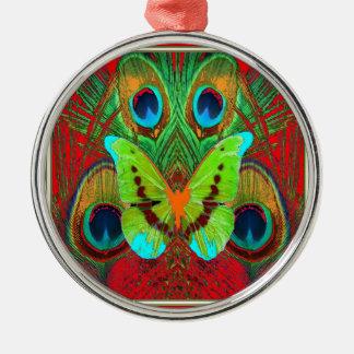 Ornement Rond Argenté cadeaux verts de paon de papillon