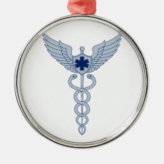 Ornement Rond Argenté Caducée avec l'icône d'étoile des ailes EMT de