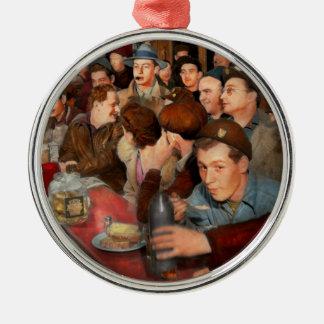 Ornement Rond Argenté Café - Munchies de minuit 1943