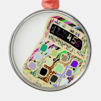 Ornement Rond Argenté calculatrice colorée