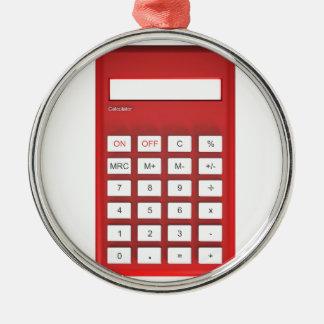 Ornement Rond Argenté Calculatrice rouge de calculatrice